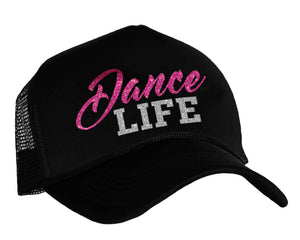 Dance Life Snap back trucker hat in black, pink and silver