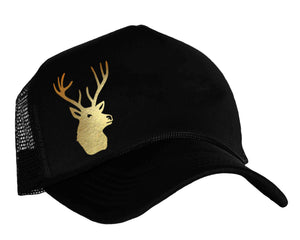 Deer Snapback Trucker Hat in black and gold foil