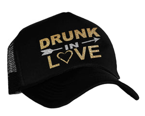 Drunk In Love Trucker Hat in black, gold and silver