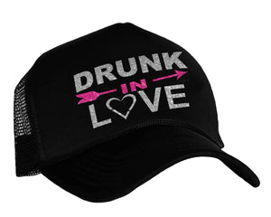 Drunk In Love snap back trucker cap in black, silver and pink