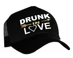 Drunk In Love Snapback Trucker Hat in black, white and gold