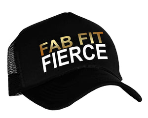 Women's fitness snap back trucker hat with graphic Fab Fit Fierce in black, white and gold