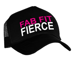 Fab Fit Fierce Snap back trucker hat in black, white and pink