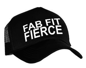 Women's workout snapback cap in black and white with graphic Fab Fit Fierce