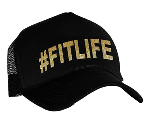 #fitlife trucker hat in black and gold