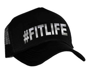 #fitlife snap back trucker hat in black and silver