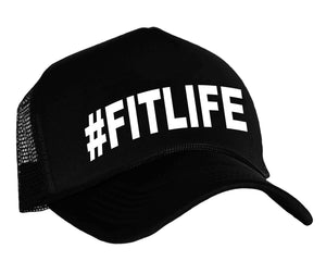 #fitlife trucker cap in black and white