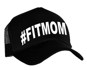 #Fitmom trucker hat in black and white