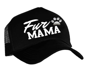 Fur Mama Snapback trucker hat in black, white and silver