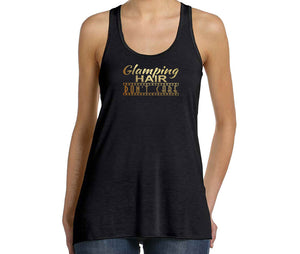 Glamping Hair Don't Care Graphic Tank Top in black and gold