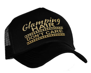 Glamping Hair Don't Care Snapback Trucker Hat in black and gold