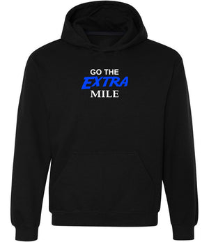 Go The Extra Mile Graphic Hoodie for runner's in black, white and blue