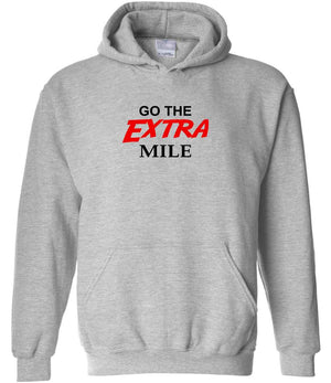 Go The Extra Mile Hoodie for runner's in grey, black and red