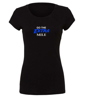"Ladies Graphic running t-shirt ""Go The Extra Mile"" in black, white and blue"