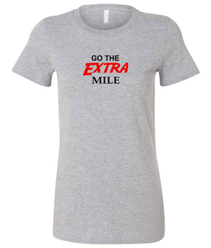 "Ladies Graphic T-shirt for running ""Go The Extra Mile"" in grey, black and red"