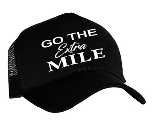Trucker hat for runners with graphic Go The Extra Mile in black and white