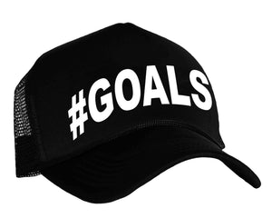 #goals snap back trucker hat in black and white