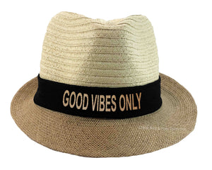 Good Vibes Only Fedora Hat black and gold