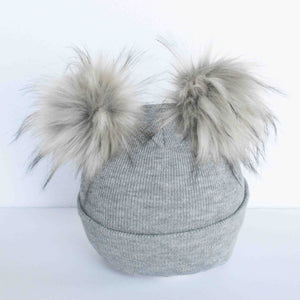 Grey beanie toque with faux fur ear pompoms
