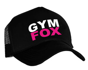 Women's gym snapback trucker hat with graphic GYM FOX in black, white and pink
