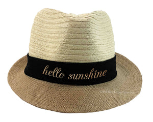 Hello Sunshine Fedora Hat in beige, black and gold