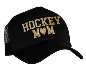 Hockey Mom with heart snap back cap in black and gold