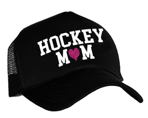 Hockey Mom with heart snapback trucker hat in black, white and pink