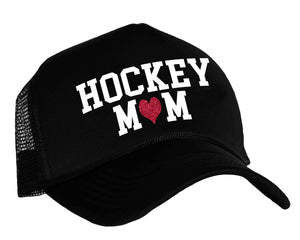 Hockey Mom with heart snap back trucker cap in black, white and red