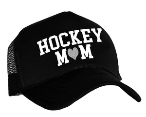 Hockey Mom trucker hat in black, white and silver