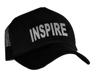 Inspire trucker cap in black and silver