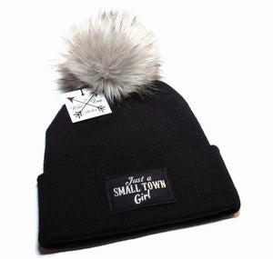Just A Small Town Girl Beanie Toque in black and silver with faux fur pom pom