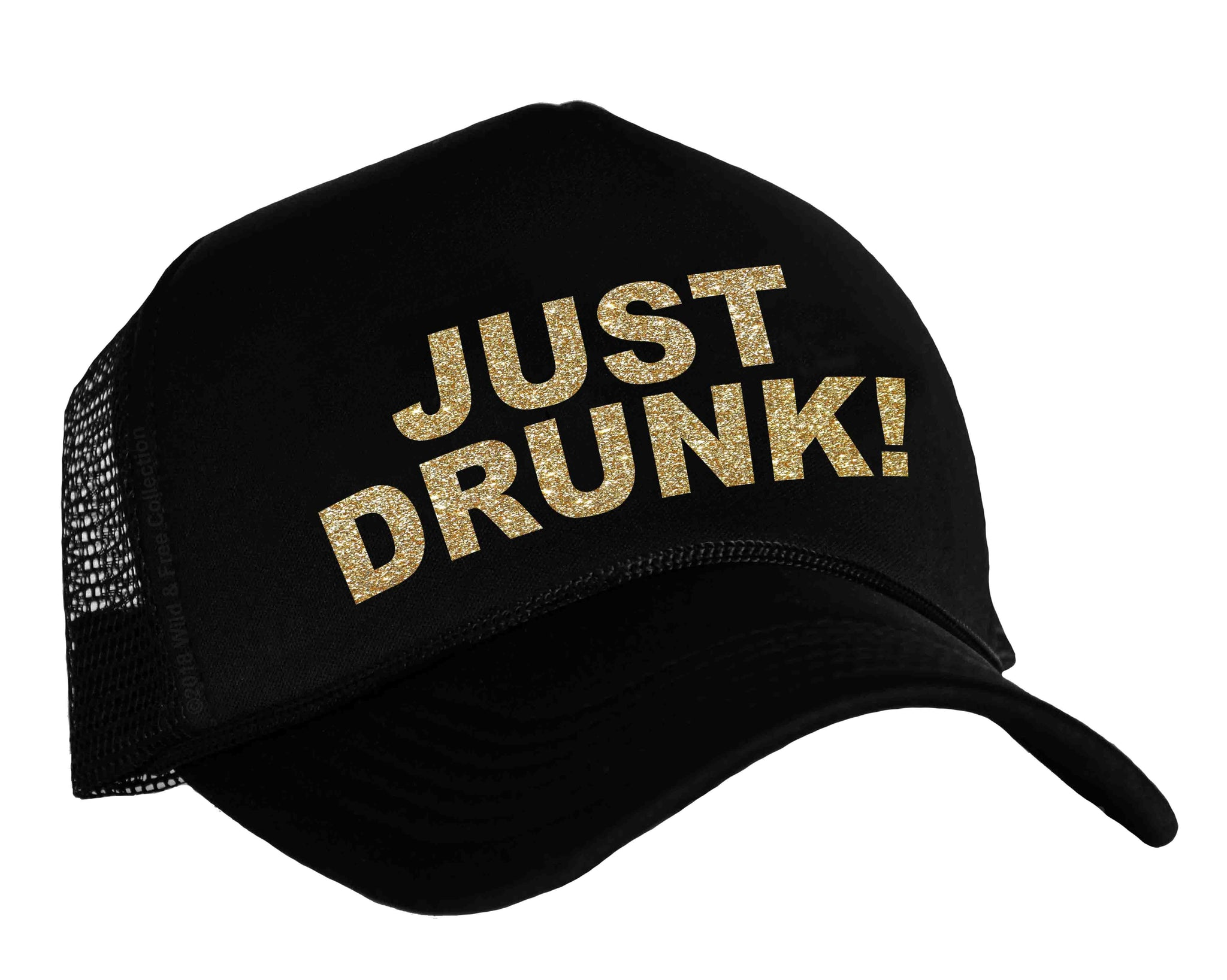317abfe3792bc ... Bachelorette party snap back cap with graphic Just Drunk in black and  gold ...