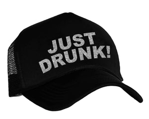 Just Drunk snap back trucker hat in black and silver