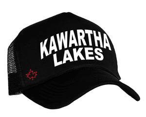 Kawartha Lakes Trucker Hat in black, white and red with Canadian Maple Leaf
