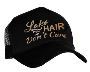 Lake Hair Don't Care Snapback trucker hat in black, silver and gold