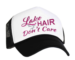 Lake Hair Don't Care snapback trucker cap in black, white and silver