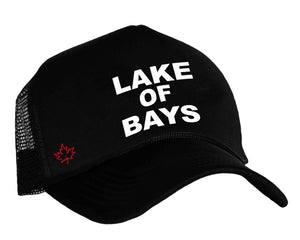 Lake of Bays in Muskoka's trucker hat in black, white and red