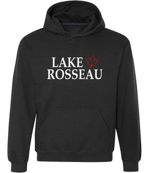 Lake Rosseau graphic hoodie with maple leaf design in black, white and red