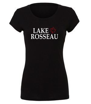Lake Rosseau ladies graphic t-shirt with maple leaf design in black, white and red
