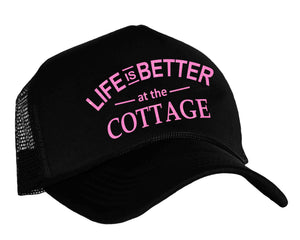 Life Is Better At The Cottage Trucker Hat in black and pink