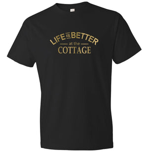 Life is Better At The Cottage graphic t-shirt in black and gold