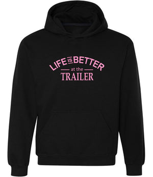 Life Is Better At The Trailer graphic hoodie in black and pink