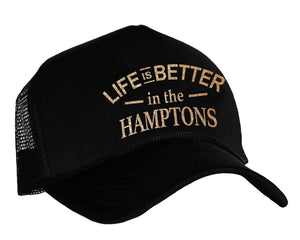 Life Is Better In The Hamptons Snapback Trucker hat in black and gold