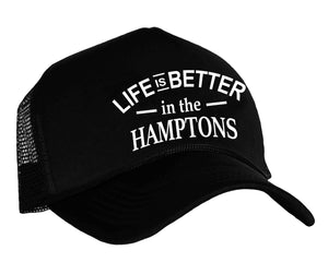 Life Is Better In The Hamptons trucker hat in black and white