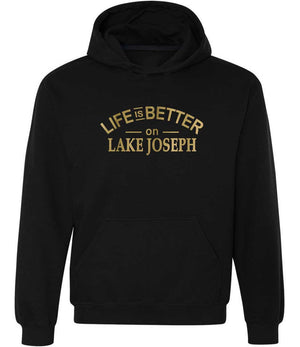 Life Is Better On Lake Joseph graphic hoodie in black and gold