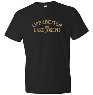 Life Is Better On Lake Joseph graphic t-shirt in black and gold
