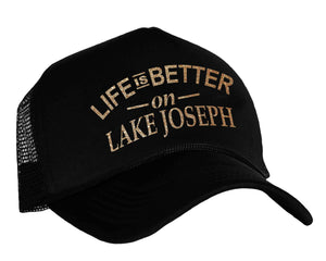 Life Is Better On Lake Joseph Trucker Hat in black and gold