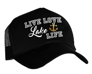Live Love Lake Life snapback trucker cap in black, white and gold