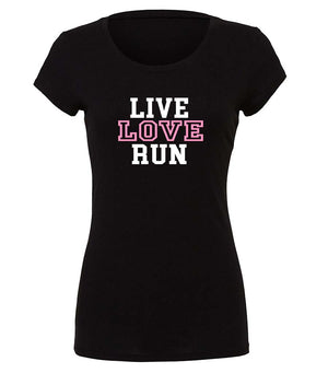 "Ladies graphic running t-shirt ""Live Love Run"" in black, white and  pink"