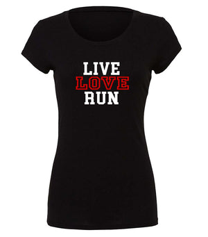 Live Love Run ladies graphic t-shirt in black, white and red